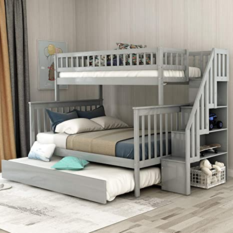 Amazon Com Twin Over Full Bunk Bed With Trundle And Stairs Weyoung Wood Stairway Twin Full Bed Frame With Storage And Safety Rails Gray Kitchen Dining