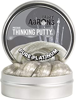 Crazy Aaron's Thinking Putty (1.6 oz) Precious Metals Pure Platinum Sparkle Putty - Never Dries Out