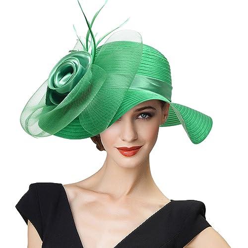 Lawliet Ladies Womens Satin Dress Church Kentucky Derby Wide Brim Feather  Sun Formal Royal Ascot Hat d12ee867962a