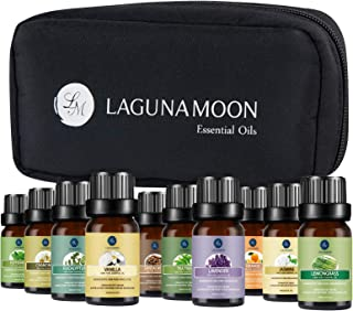 Lagunamoon Essential Oils with Travel Bag, Set of 10 Pure Aromatherapy Oils Tea Tree Lavender Peppermint Eucalyptus Sandal...