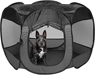 Furhaven Pet Playpen - Indoor-Outdoor Mesh Open-Air Playpen and Exercise Pen Tent House Playground for Dogs and Cats, Gray...