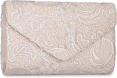 Baglamor Women's Elegant Floral Lace Envelope Clutch Evening Prom Handbag Purse(Apricot)