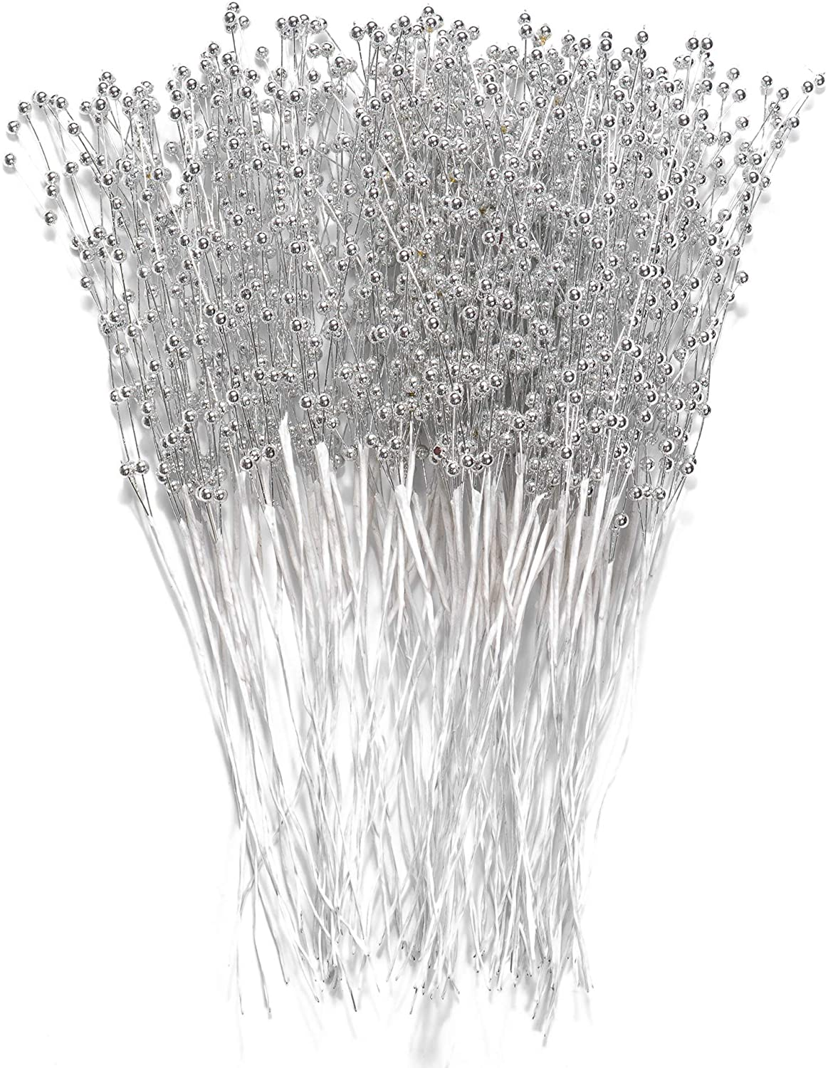 60 Pcs Pearl Sticks Bouquet 4MM Bead String Pearls Garland for DIY Bridal Wedding Bouquet, Christmas Pick, Party Table Center Decorations (Silver)