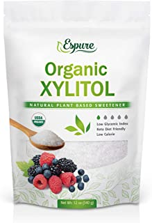 Organic Xylitol - USDA Certified Plant Based Sweetener, Low Glycemic Index, Keto, Sugar Substitute; 12 Oz