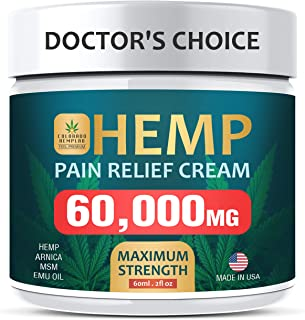 Pain Relief Cream - Maximum Strength, 60,000 MG - Fast Relief from Pain, Ache, Arthritis & Inflammation - Made & 3rd Party Lab Tested in The USA