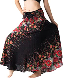 Bangkokpants Women's Long Maxi Hippie Bohemian Skirt Gypsy Dress Boho Clothes Flowers One Size Fits Asymmetric Hem Design