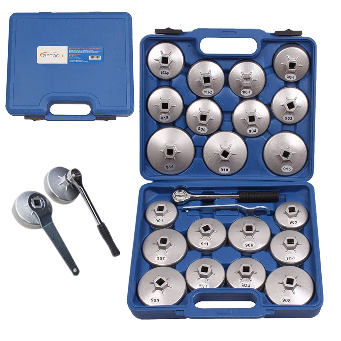 BETOOLL HW0103 23pcs Aluminum Alloy Cup Type Oil Filter Cap Wrench Socket Removal Tool Set 1/2