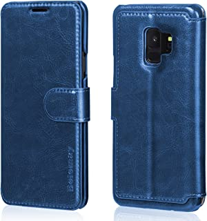 Belemay Samsung Galaxy S9 Case, Genuine Cowhide Leather Wallet Case, Premium Folio Flip Book Cover with Magnetic Closure, Kickstand, Card Holder Slots, Cash Pockets Compatible Samsung Galaxy S9, Blue