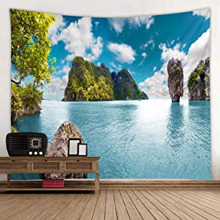 Blue Lake Water Island Print Fabric Tapestry Decor Wall Art Tablecloths Bedspread Picnic Blanket Beach Throw Tapestries Colorful Bedroom Hall Dorm Living Room Hanging 79 x 59 inches