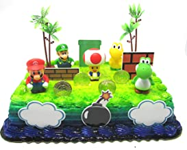 Super Mario Brothers Birthday Cake Toper Set Featuring Mario, Luigi, Toad, Yoshi and Decorative Themed Accessories