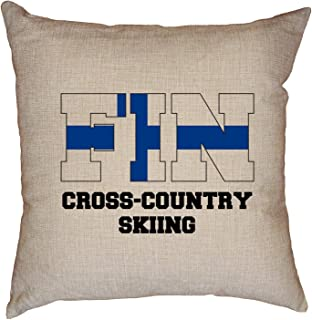Hollywood Thread Finland Olympic - Cross-Country Skiing - Flag - Silhouette Decorative Linen Throw Cushion Pillow Case with Insert