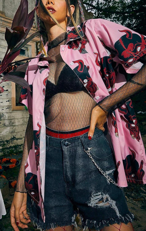 Womens Devil Shirt Print Harajuku Fashion Button Down Japanese Short Sleeve Tops