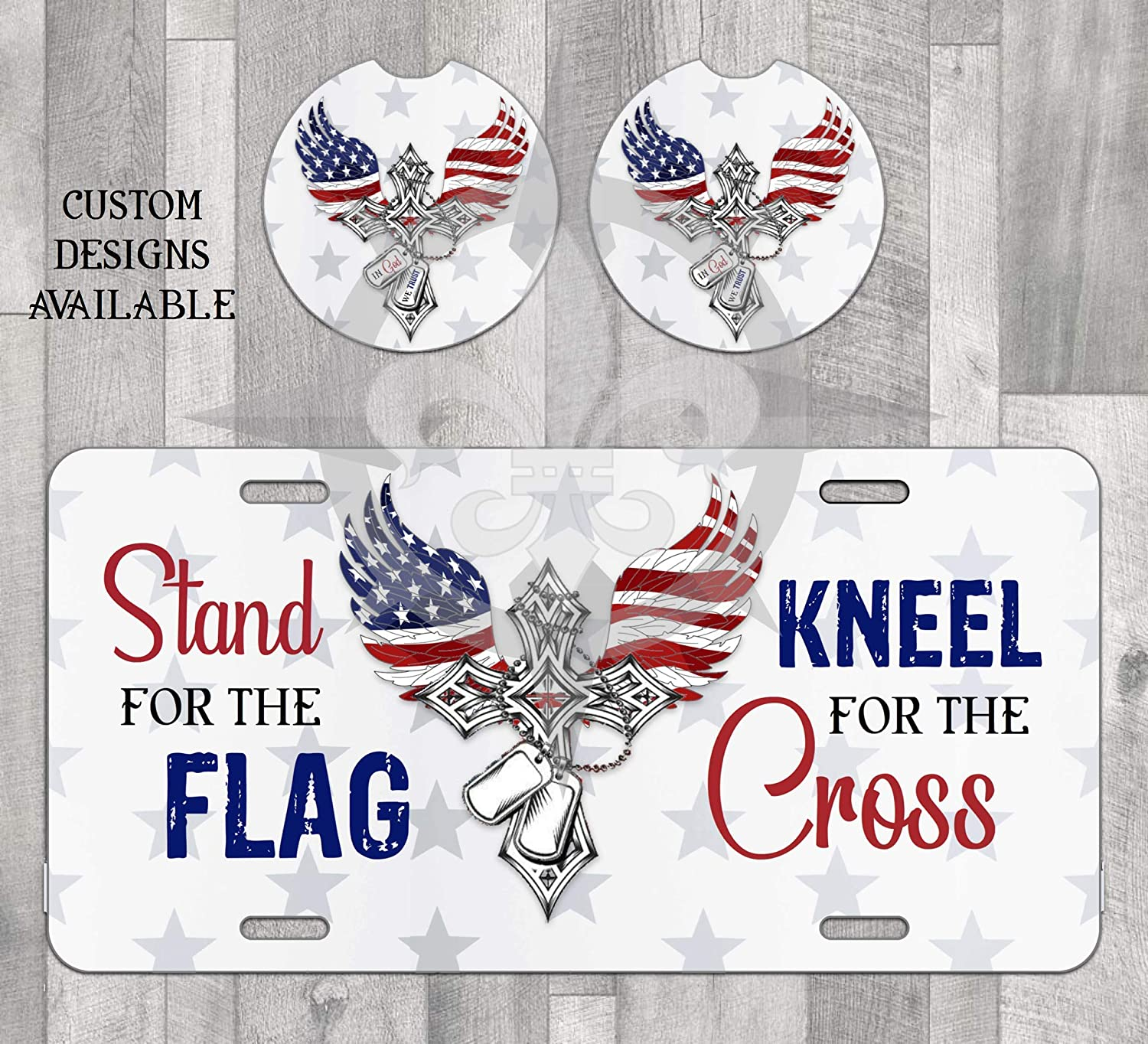 Classic Max 76% OFF American Cross License Plate and Car for Flag the Stand coasters