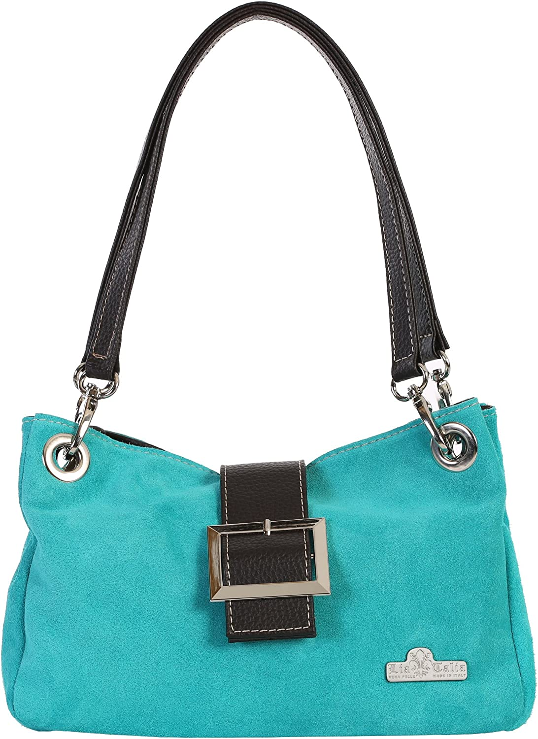 LIATALIA Real Italian Suede Small Leather Bag with Faux Trim Cotton Lining  PIXIE
