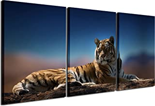 Gardenia Art - Animal Canvas Prints Tigers Wall Art Paintings Blue Pictures Artworks for Bedroom Living Room Decoration,16x24 inch/Piece, Framed, 3 Panels