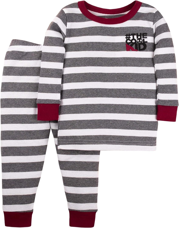 Lamaze Organic Toddler Unisex Tight Fit Pajamas Set, Gray Stripe, 5T