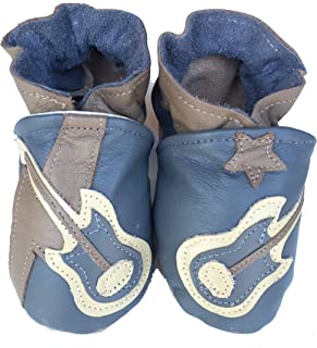 product image for ROCK STAR (dove grey) Handmade in USA, All-Natural Leather Baby Shoes.