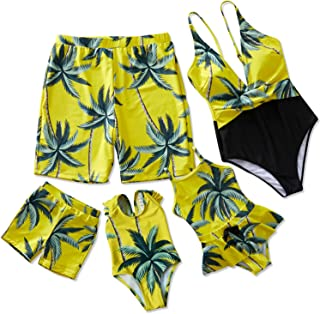 Yaffi Family Matching Swimsuit One Piece V Neck Mommy and Me Bathing Suit 2019 Newest Beach Wear
