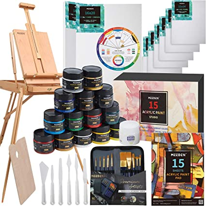 Artist Acrylic Painting Set with Solid Beech Wood French Easel, 15-100ML(3.38 oz) Acrylic Paints, 10- Acrylic Paintbrushes, 2-16″x20″ Stretched Canvases & 6-11″x14″ Canvases Panels & Accessories
