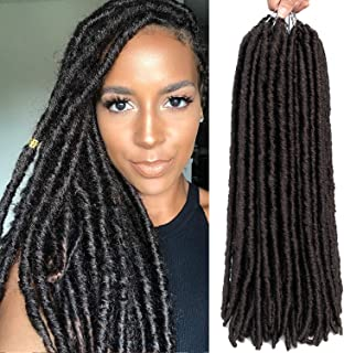 6 Packs/lot Dreadlocks Crochet Braids Soft Faux Locs Crochet Hair Synthetic Braiding Hair Bomba Dreadlocks Faux Locs Soul 18inch Goddess Locs Crochet Hair Braids (18inch, 4#)