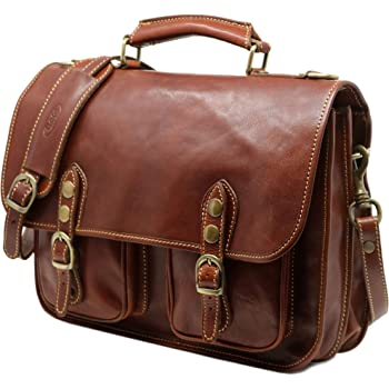 Floto Roma Messenger Bag in Canvas with Brown Leather Trim