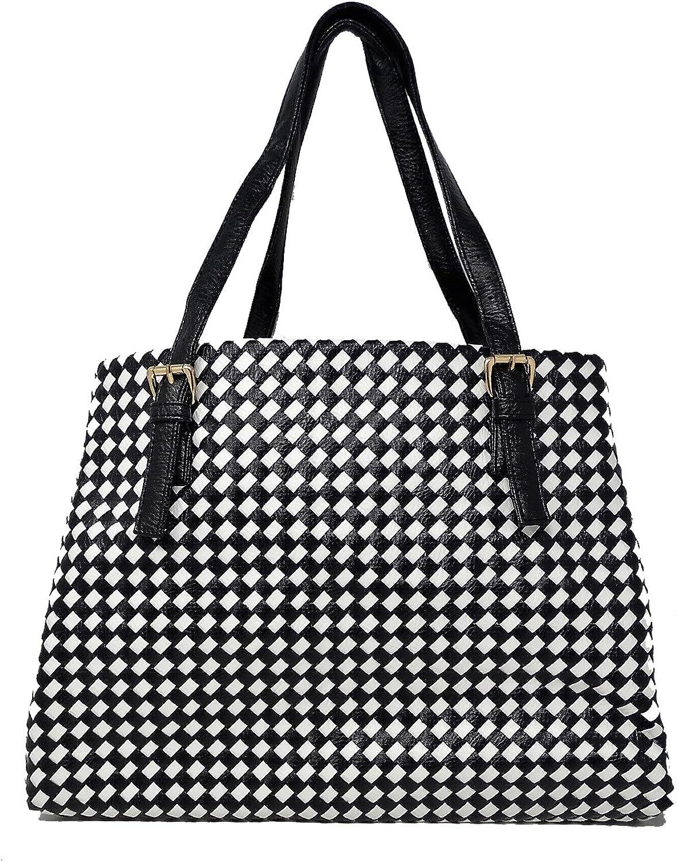 ALEX T.G. Women Handbag CHESS Large Black & White color