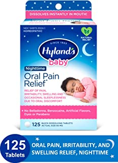 Hyland's Baby Nighttime Oral Pain Relief Tablets with Chamomilla, Soothing Natural..