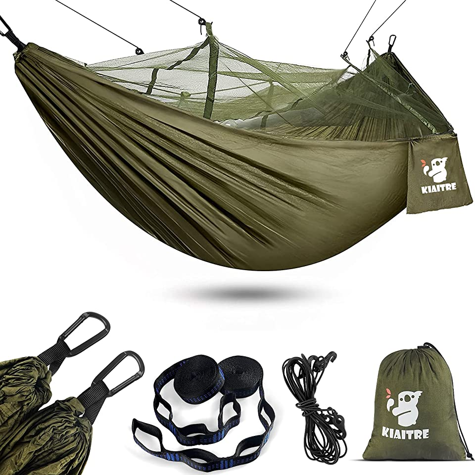 Kiaitre Camping Hammock with Net - Lightweight Nylon Hammock for Backpacking, Camping, Hiking and Beach Adventure