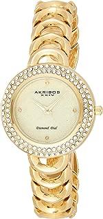 Akribos XXIV Women's Watch – Crystal Studded Bezel, Glitter Dial Diamond Markers, Stainless Steel Link Bracelet