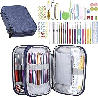 85Pcs Crochet Hooks Set with Case, Dveda Full Set Crochet Kit Accessories, Ergonomic Knitting Needles Kits DIY Hand Knitti...