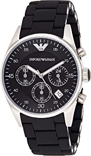 Emporio Armani Men's Black Dial Silicone Band Watch - Ar5868, Black Band, Analog - Digital Display