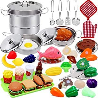 Toys for 2 3 4 Year Old Girls Boys,Play Kitchen Accessories,45 PCS Play Food Set for Kids Kitchen with Stainless Steel Coo...