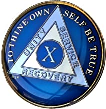 10 Year Midnight Blue AA Alcoholics Anonymous Medallion Chip Tri Plate Gold & Nickel Plated Serenity Prayer