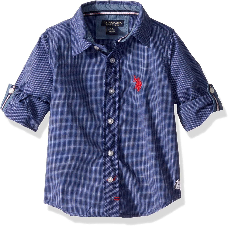 U.S. Polo Assn. Boys' Long Sleeve Plaid Yoke Woven Shirt