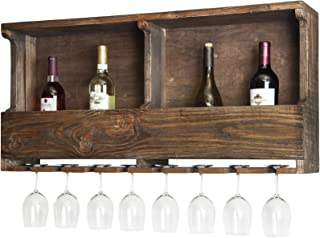 Sonoma Reclaimed Wood Wall Mounted Wine Rack with Glass Holder, Natural