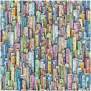 Bgraamiens Puzzle-Skyscraper Sea-1000 Pieces Sketch Colorful Buildings Jigsaw Puzzles