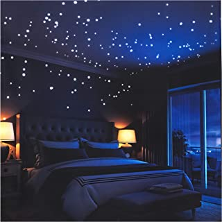 Glow in The Dark Stars Wall Stickers,252 Adhesive Dots and Moon for Starry Sky, Decor for..