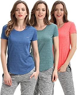 Gym Shirts for Women- Fitness Athletic Yoga Tops Exercise Gym Shirts Running Workout Shirts (Pack of 3)