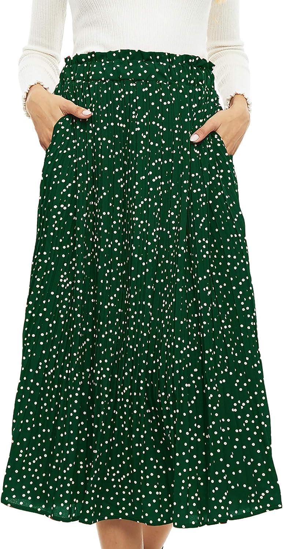 SATINIOR Womens High Waist Midi Swing Skirt Polka Dot Pleated Skirt