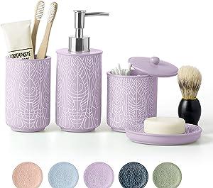 VIRTUNE Premium Lavender Purple Bathroom Accessories Set. Purple Bathroom Set. Purple Bathroom Decor. Accesorios para Baños. New Apartment Essentials. Purple Toothbrush Holder and Soap Dispenser.