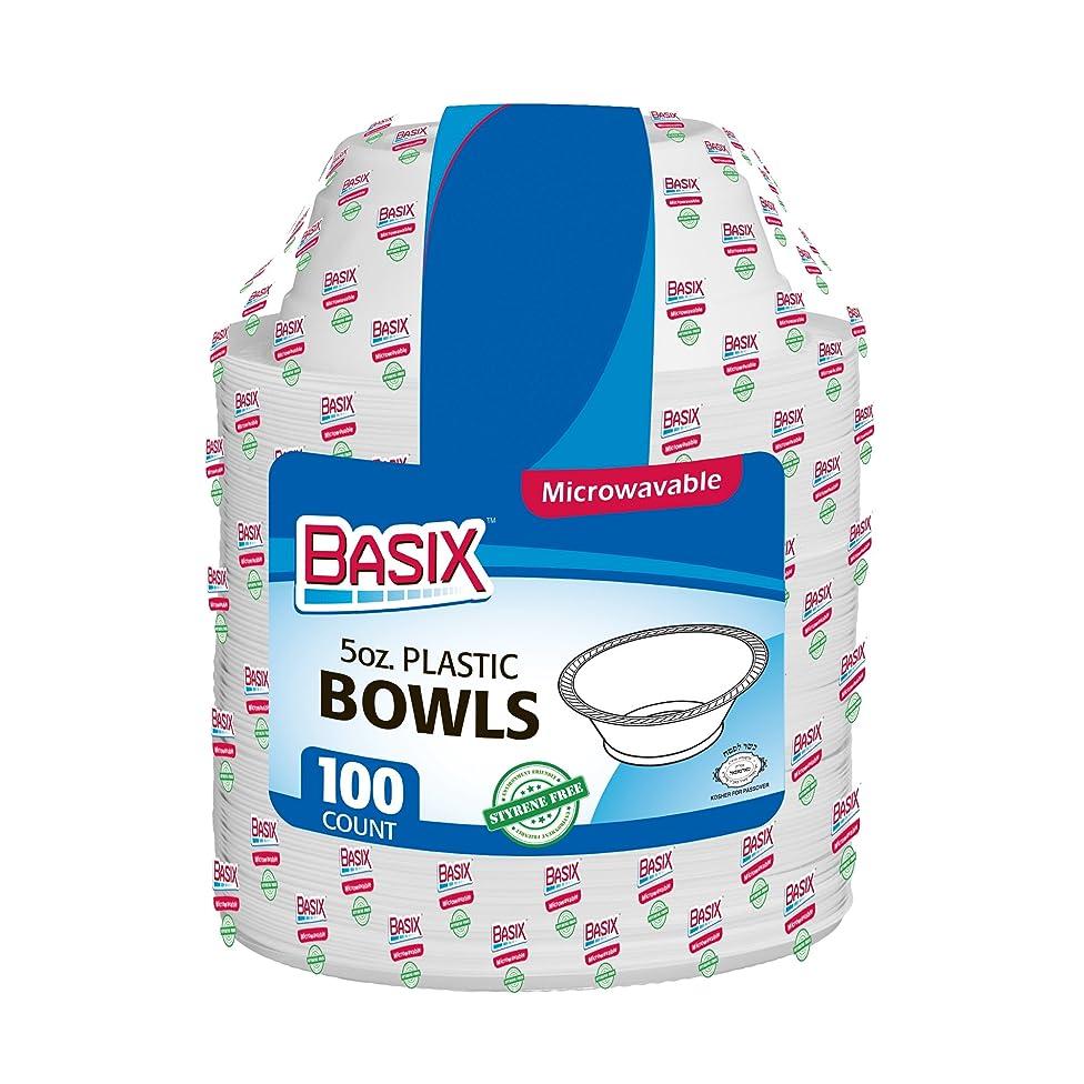 Basix 5 oz Disposable Plastic Bowls Microwave Safe, White 1 Pack (100 Plates)