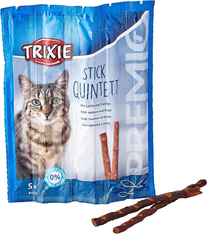 TRIXIE Snack PREMIO Quadro-Sticks, Salmón-Trucha, 5 × 5 g, Gato