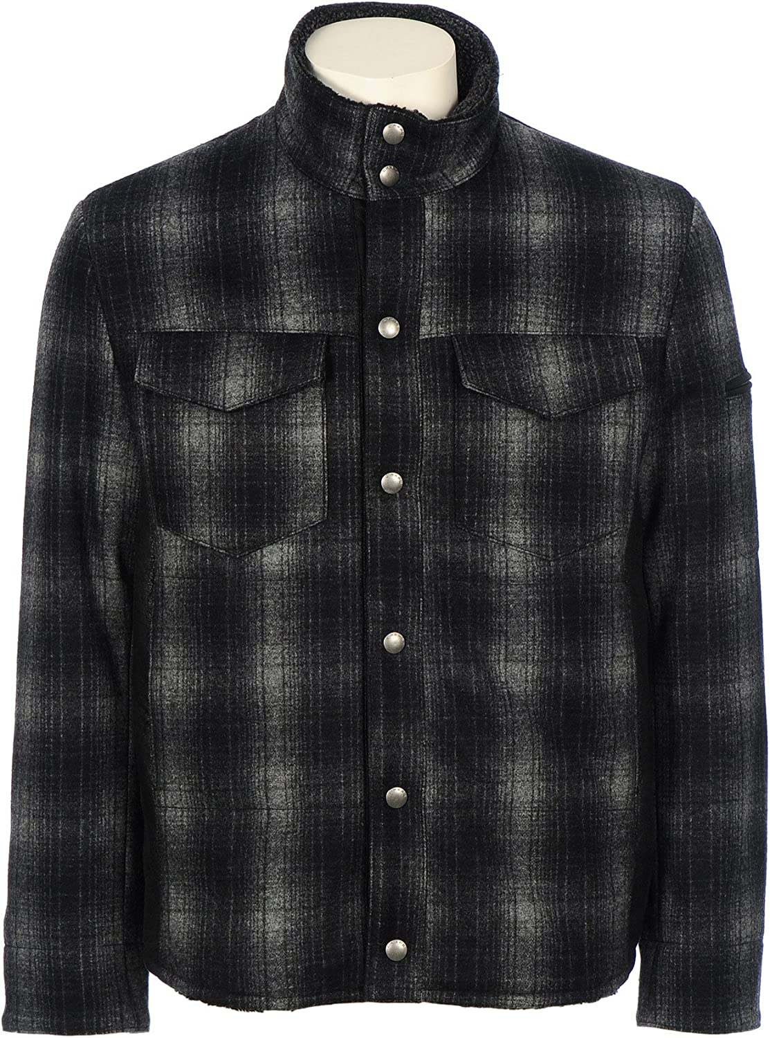 Men's Chaps Wool Plaid Jacket with Faux Shearling Inserts, GREY PLAID, M