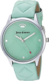 Juicy Couture Black Label Women's JC/1081MINT Silver-Tone and Mint Green Quilted Leather Strap Watch