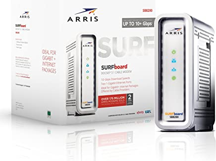 ARRIS Surfboard Gigabit DOCSIS 3.1 Cable Modem, 10 Gbps Max Speed, Approved for Comcast Xfinity and Cox. (SB8200)
