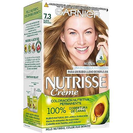 Garnier Nutrisse Creme Coloración Nutritiva Permanente, Tinte 100% Cobertura de Canas con Mascarilla Nutritiva de 4 Aceites - Tono 7.3 Rubio Dorado