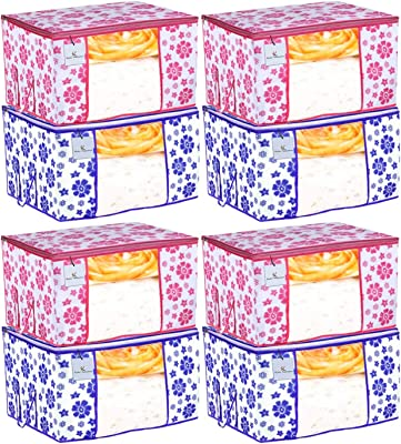 Kuber Industries Flower Design 8 Piece Non Woven Fabric Underbed Storage Bag,Cloth Organiser,Blanket Cover with Transparent Window, Pink & Blue -CTKTC041182