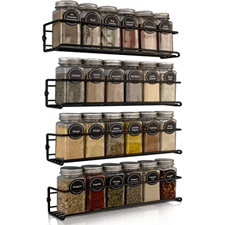 Space Saving Spice Rack Organizer for Cabinets or Wall Mounts - Easy To Install Set of 4 Hanging Racks - Perfect Seasoning Organizer For Your Kitchen Cabinet, Cupboard or Pantry Door