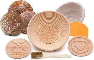 Artizanka Bread Banneton Proofing Basket - Sourdough Starter Kit include 9 inch Basket, 2 Removable Wooden Base Patterns, Dough Scraper, Brush, Cloth Liner - Starter Jar Proofing Box Gift for Bakers