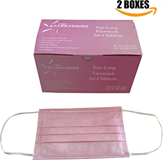 100 PCS (2 BX) 3-Ply Premium Children Pink Earloop Face Masks, Medical Grade With Bacterial Filtration Efficiency (BFE) Rating Over 99%